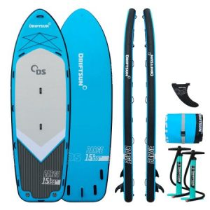 Driftsun Party Barge 15' Paddle Board Mega iSUP – Large Multi Person Inflatable Paddleboard with 2 Dual Action Hand Pumps